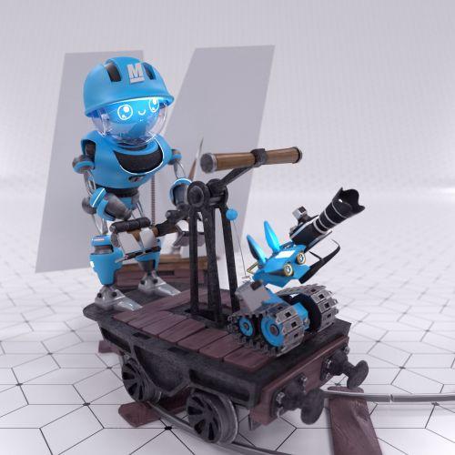 3d robot on cart