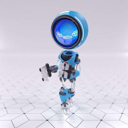 3d blue robot