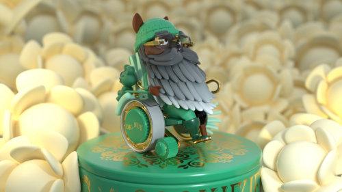 3d green owl design