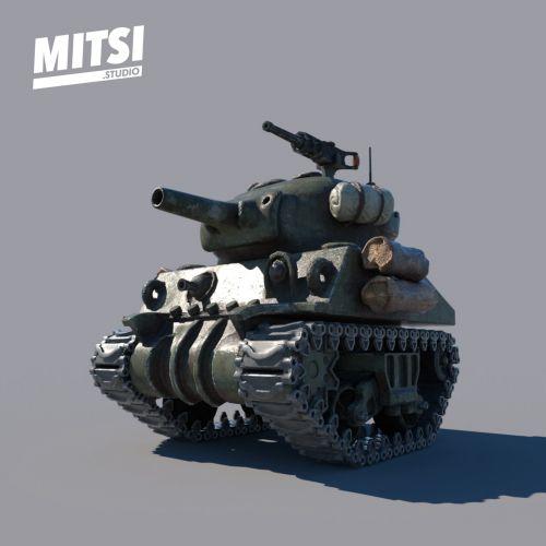3d Mitsi War tank guns