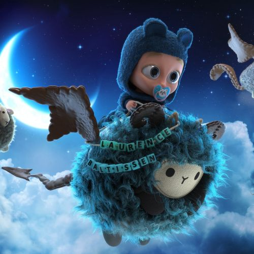 3d cartoon characters flying in sky