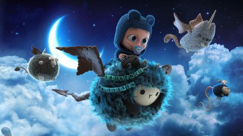 在天空中飞翔的3d卡通人物