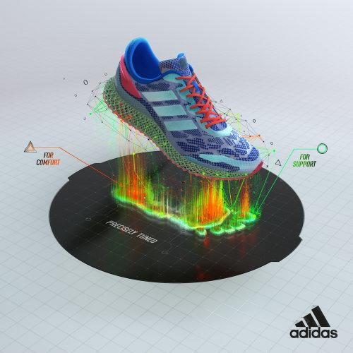 3d渲染的多色鞋