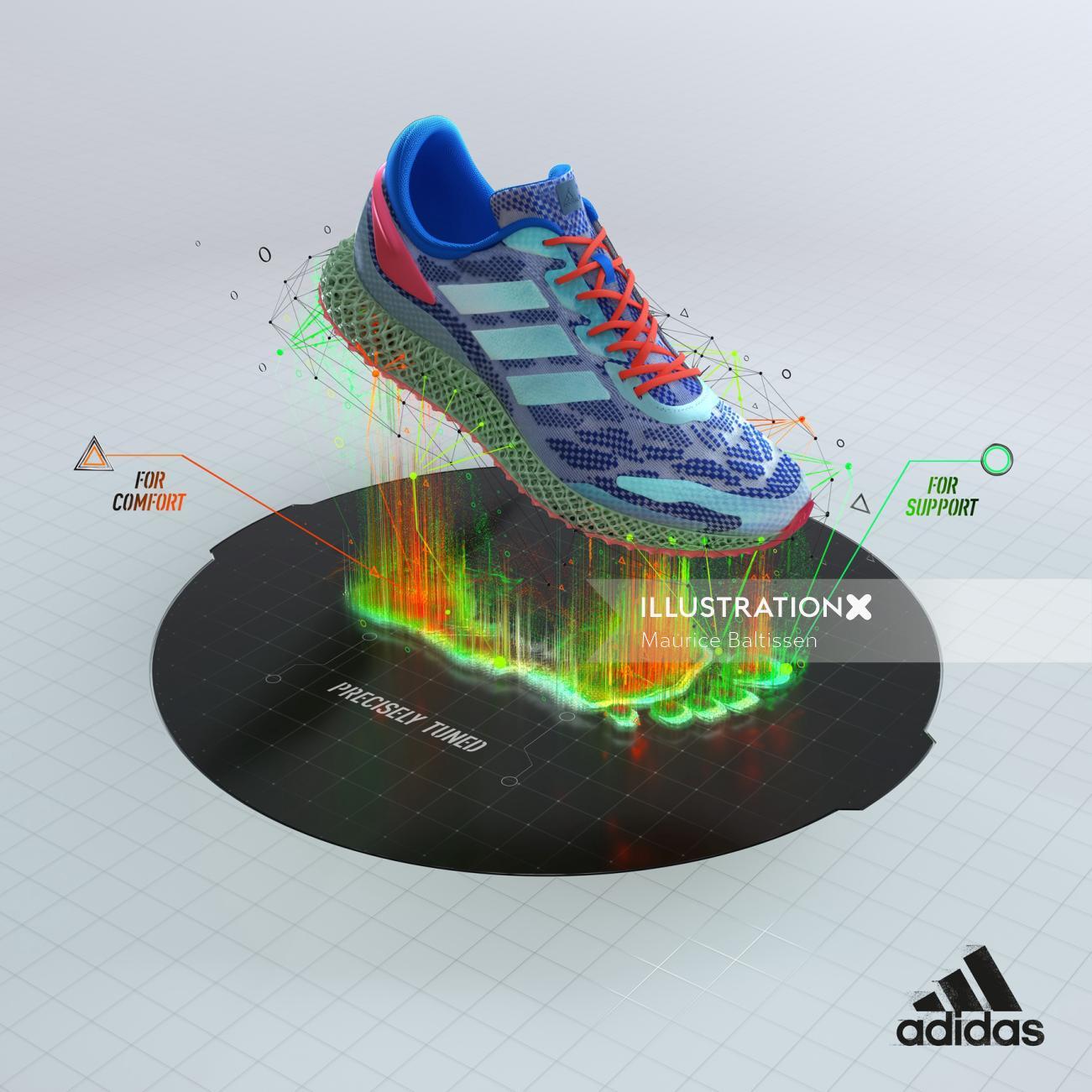 3d Rendered multicolor shoe
