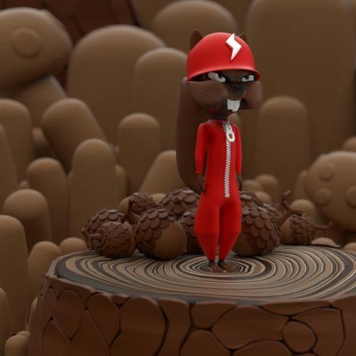 3d bunny character standing