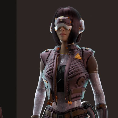 3d girl with eye shield