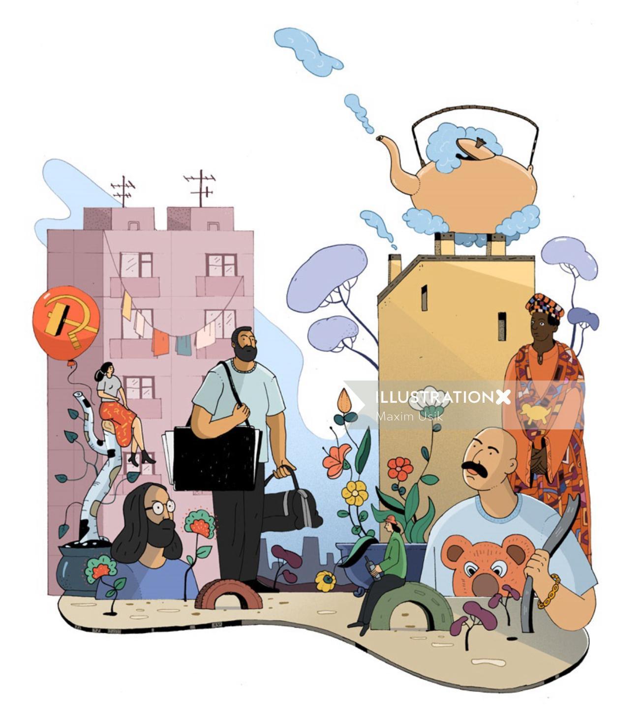Illustration of Fiction Book Artist Novels