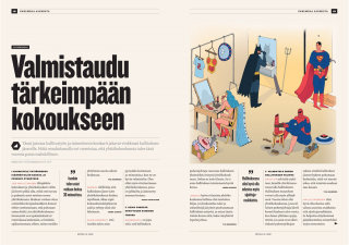 Editorial illustration of superheroes are go ing to meeting for Kotitalo magazine