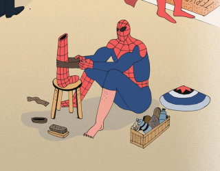 Comic art of Superman for Kotitalo magazine