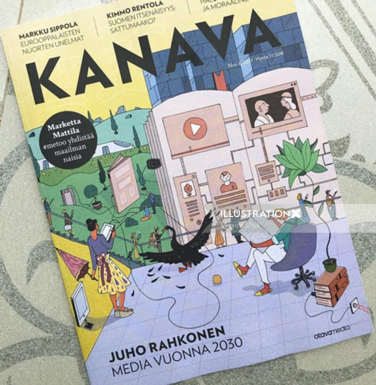 Kanava magazine cover illustration by Maxim Usik