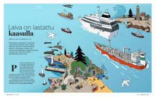 Editorial illustration Baltic sea Gas shipping from Finland