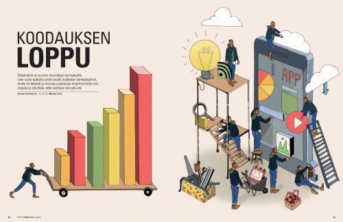 Spread illustration for Tivi-magazine