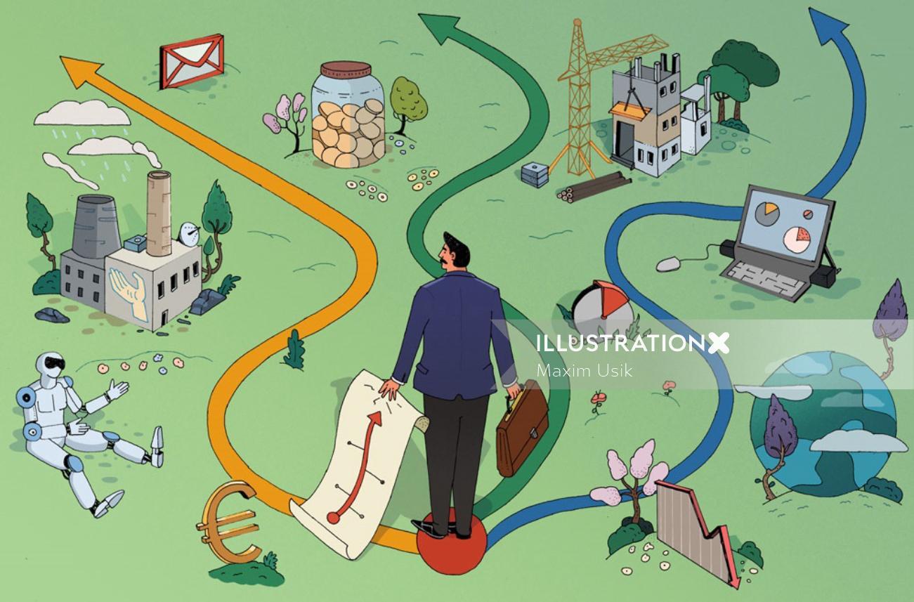 Illustration about nature & technology