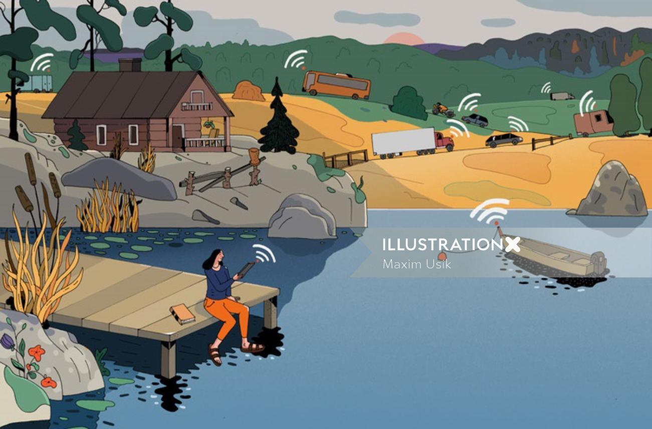 Conceptual art of smart mobile for Talouselama Magazine