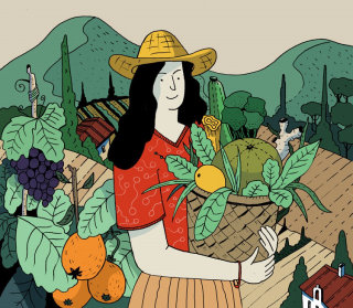 Healthy food and woman illustration