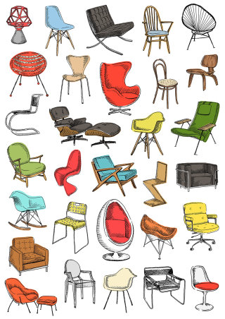 Illustration of types of chairs