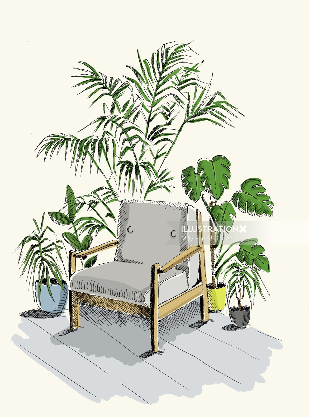 Illustration of plants around the chair