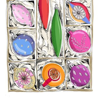 Illustration of baubles in a box