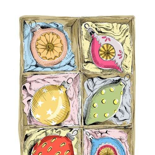 Vintage illustration of baubles in box