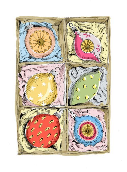 Ilustração vintage de enfeites na caixa