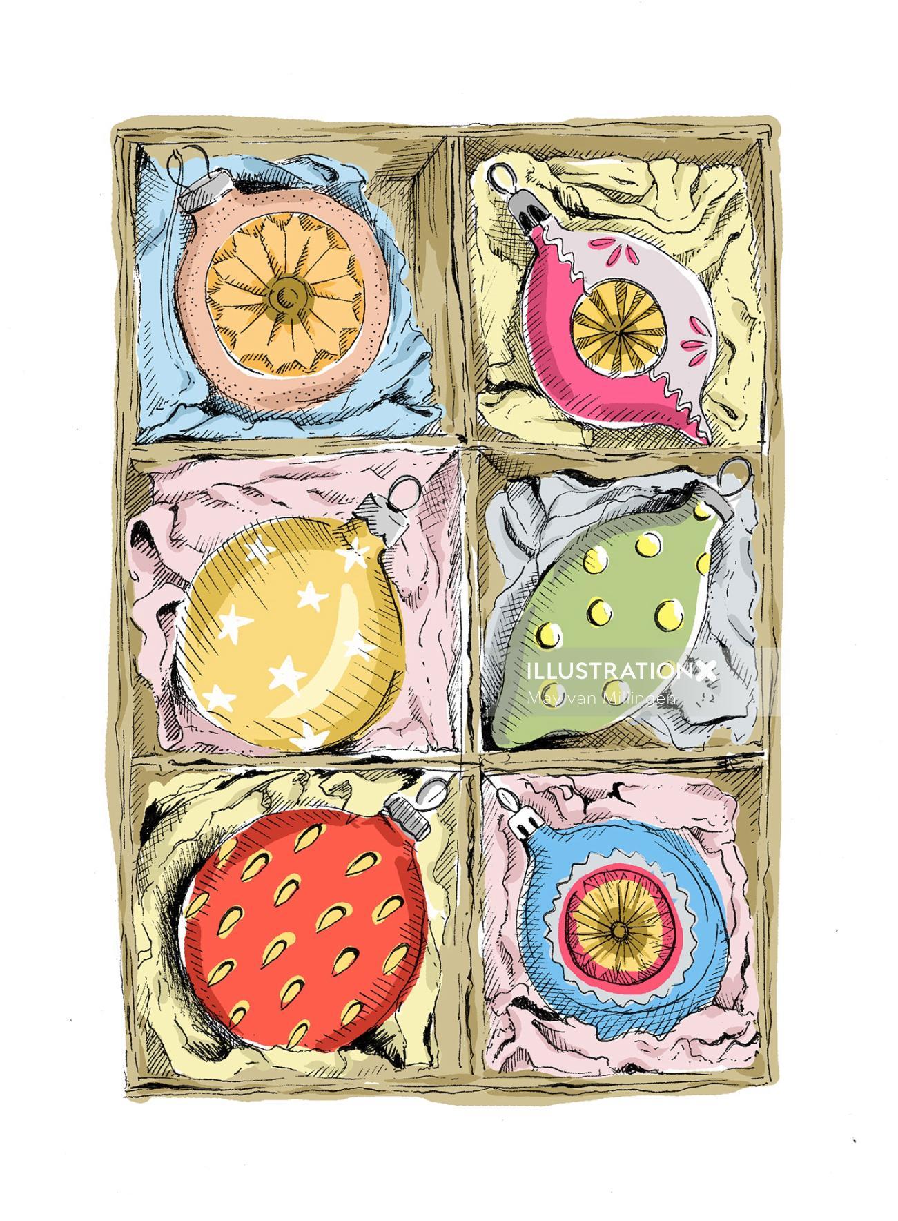 Vintage illustration of baubles in box