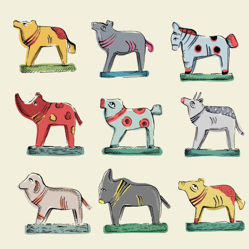 Illustration of wooden made animals