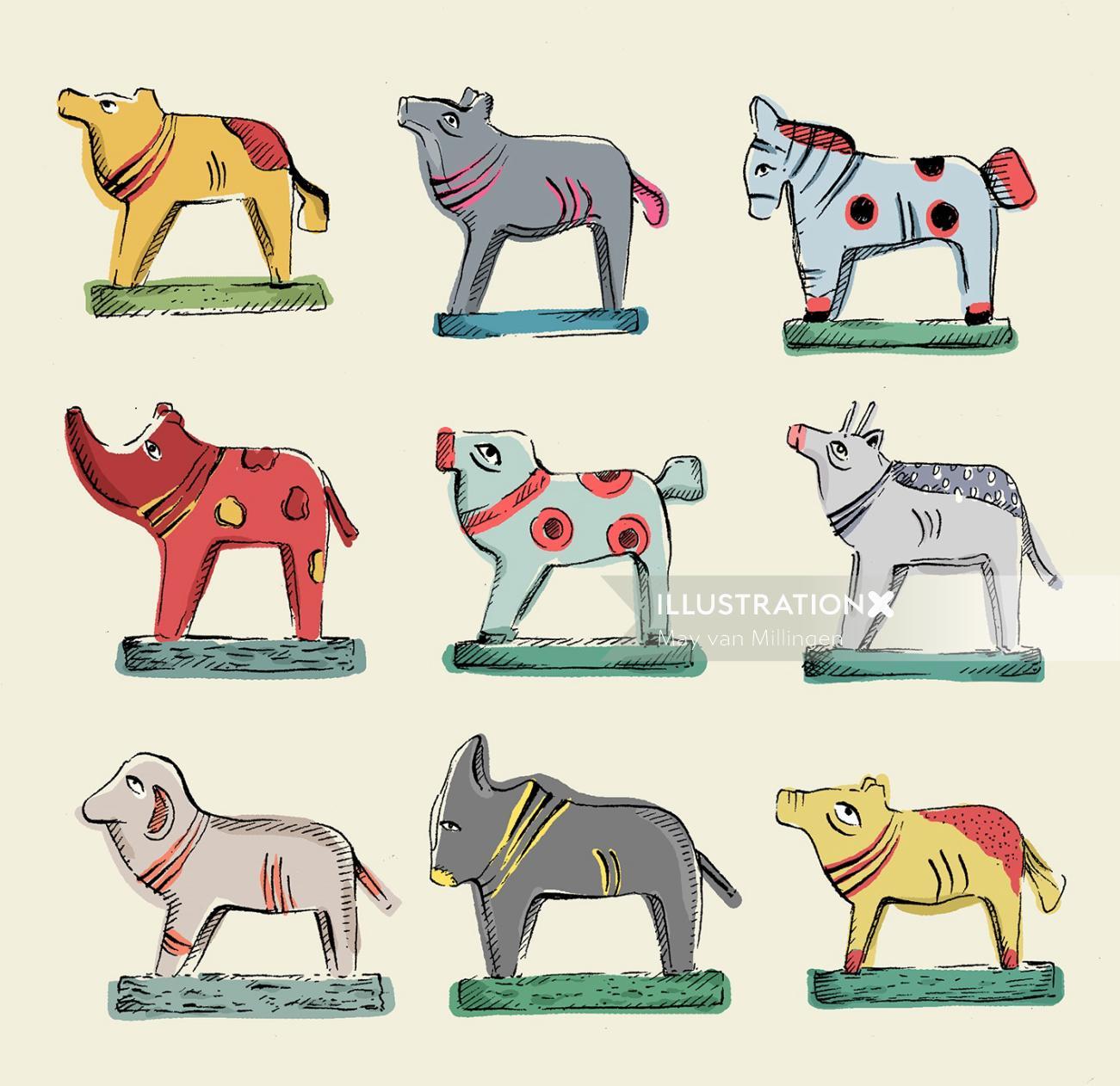 Illustration of wooden made animals