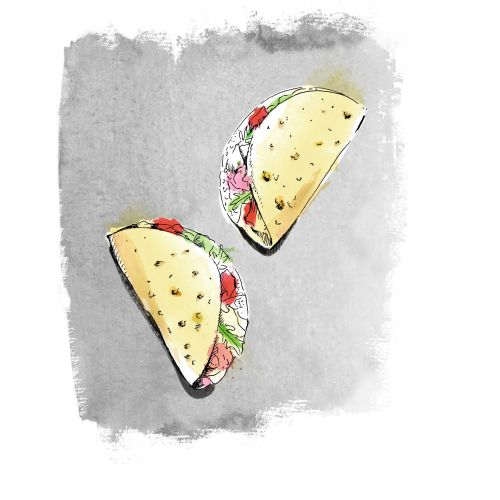 Delicious mexican food tacos design
