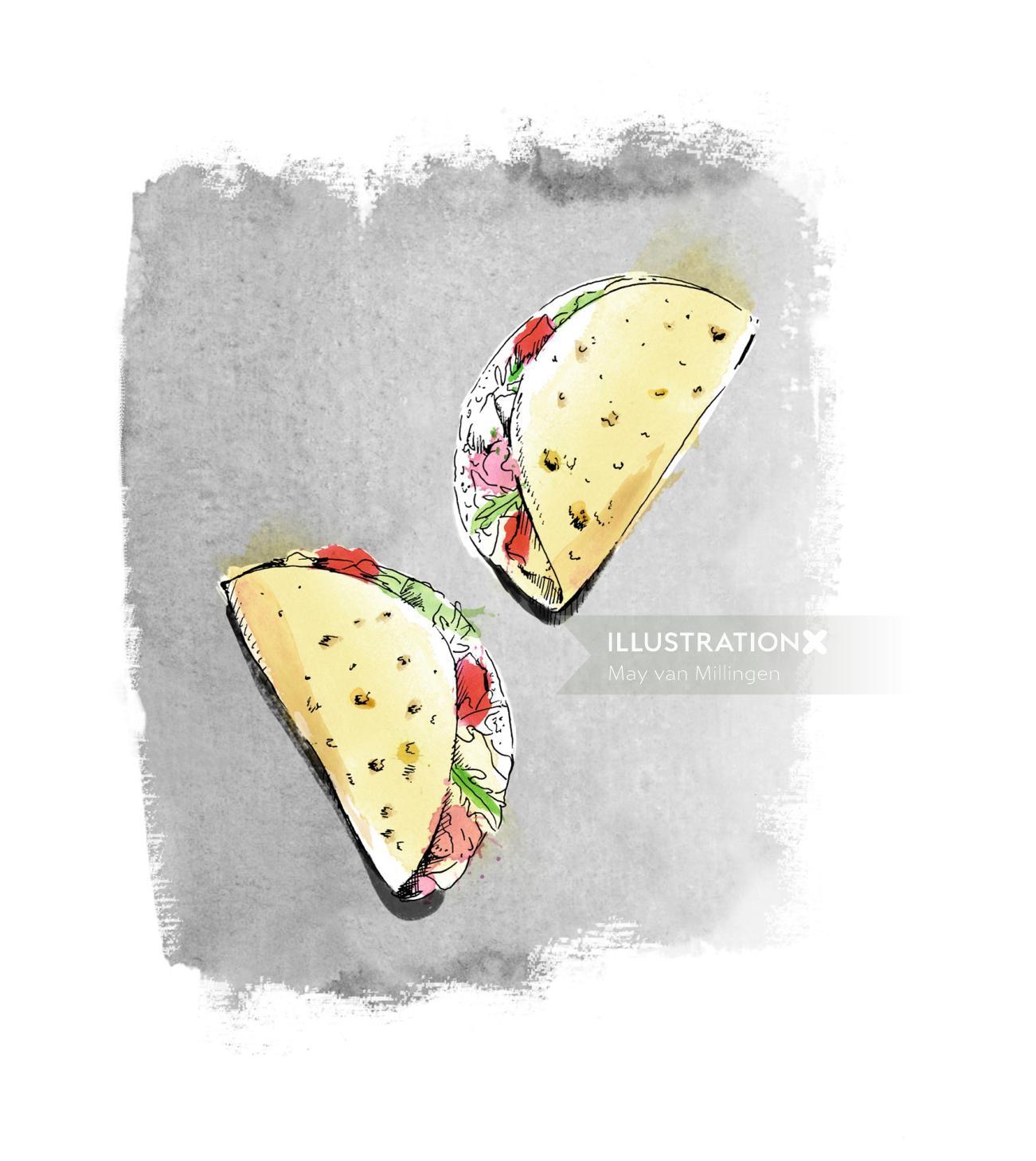 Delicious mexican food tacos design