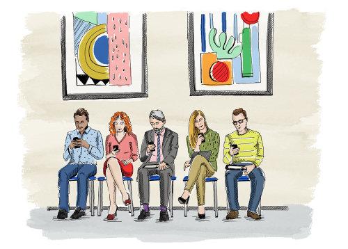 Pessoas de negócios, sentado na sala de espera