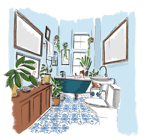 Woman in bathtub line illustration
