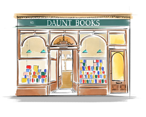 Ilustração em aquarela de livros Daunt em Londres