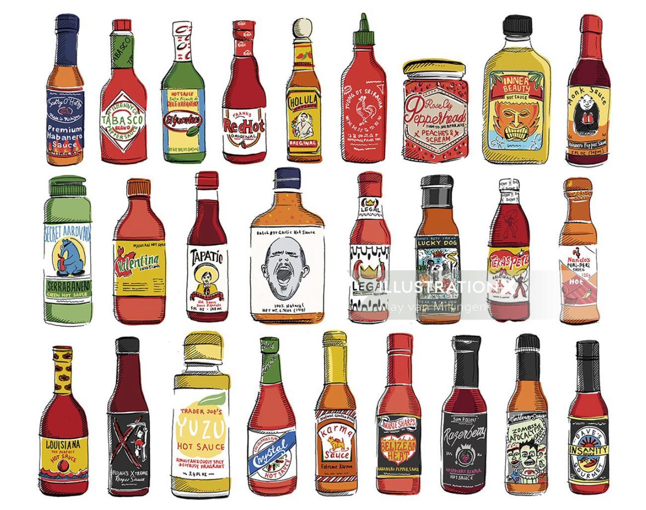 Hot Sauces artwork by May Van Millingen