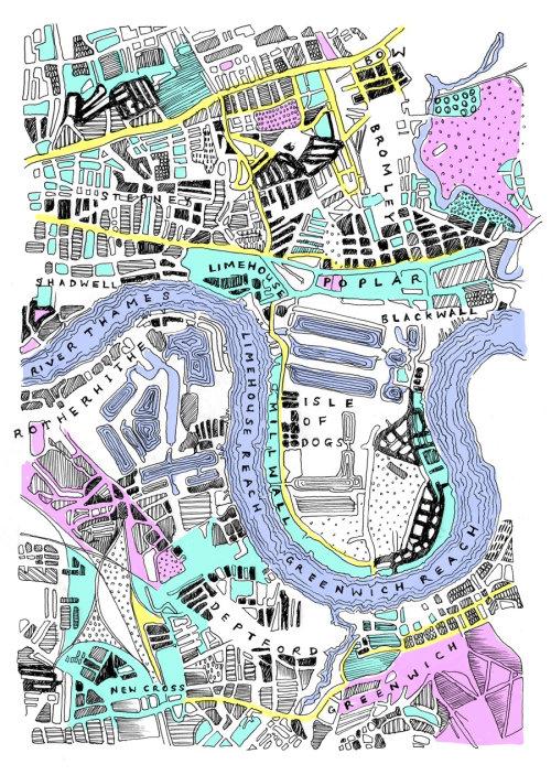 Ilustração de direção de fluxo do rio de Londres por May van Millingen