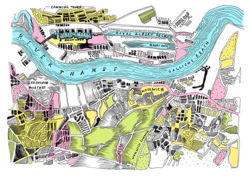 Ilustração de direção de fluxo de rio por May van Millingen