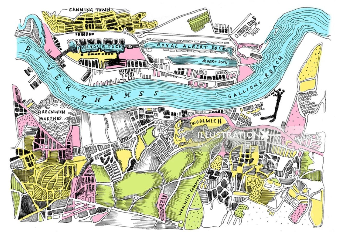 River flow direction illustration by May van Millingen