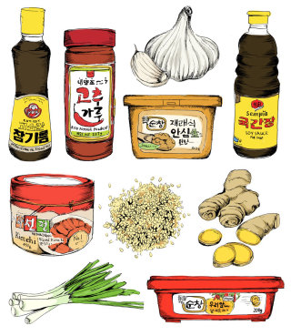 Korean food illustration by May van Millingen