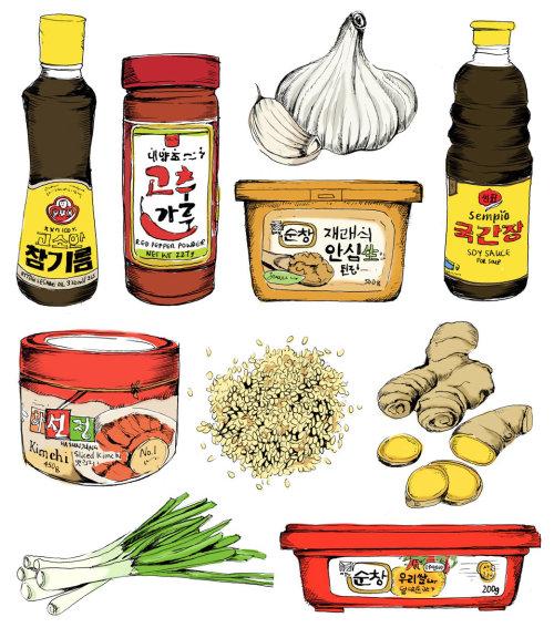 Ilustração de comida coreana de May van Millingen