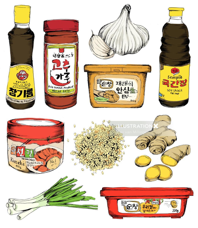 Korean food illustration by May van Millingen