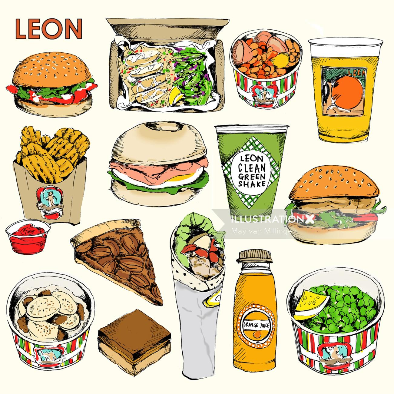 Leon product illustration by May van Millingen