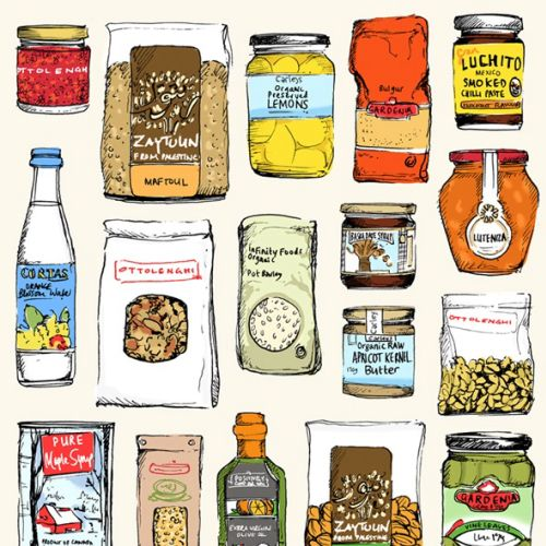 Ottolenghi pantry ingredients illustration by May van Millingen