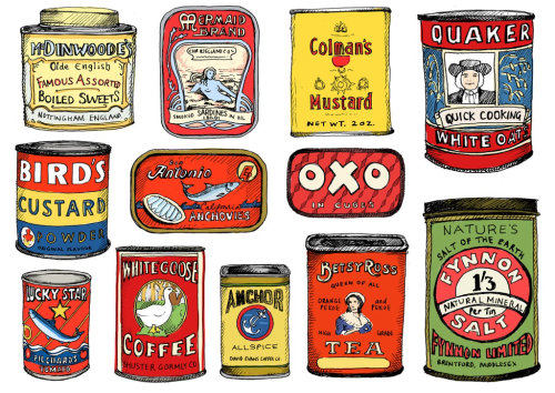 Food packaging tins typography