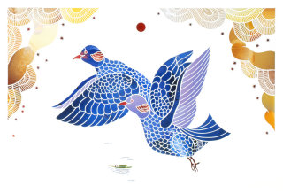 Decorative art of flying birds