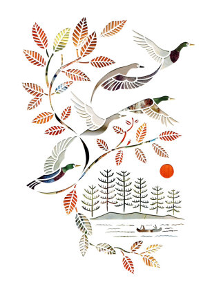 Paper-cut art of birds flying