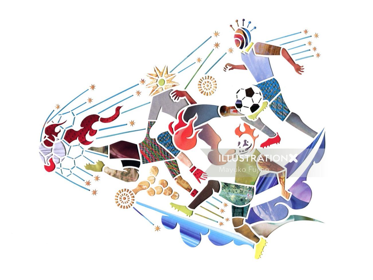 An illustration of soccer players