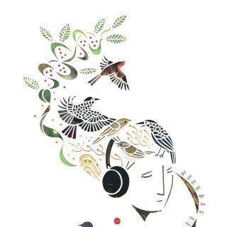 Cut paper art of woman listening music