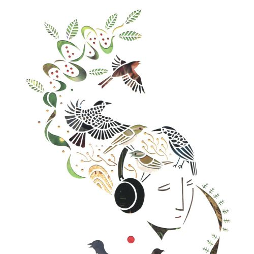 Cut paper art of woman listening music
