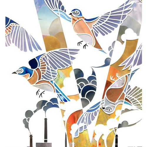 Birds flying in factories smoke illustration