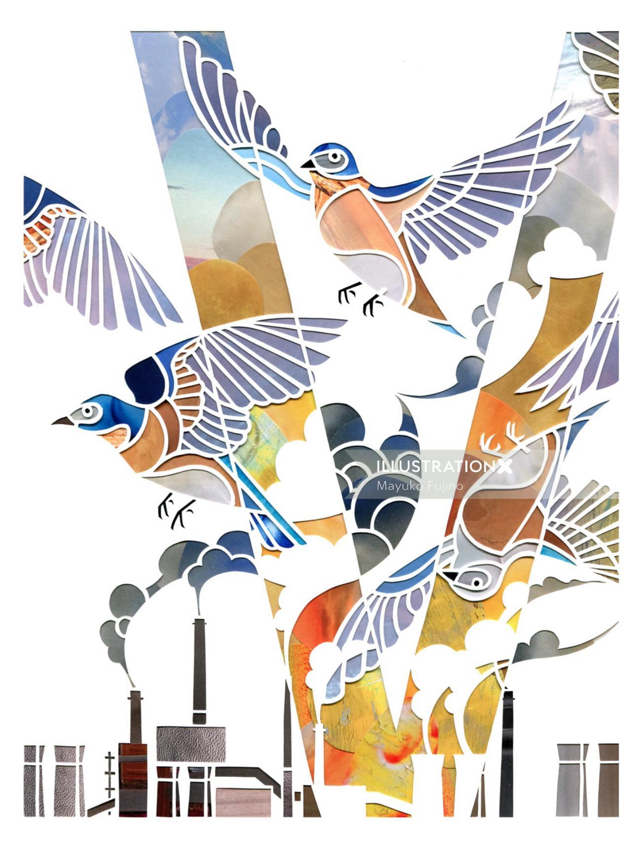 Birds flying in factories smoke illustration