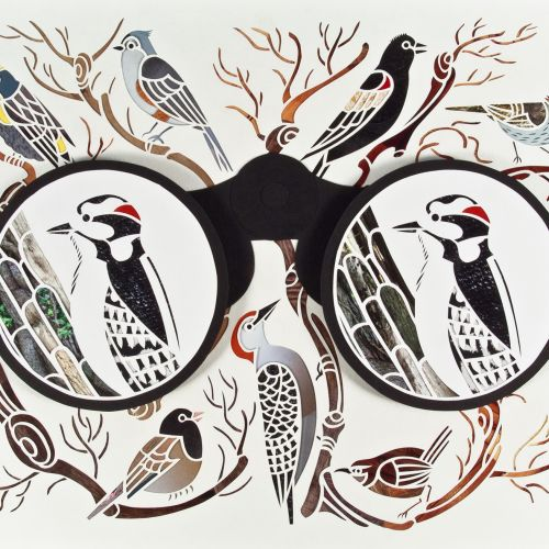 Paper art of binocular birds
